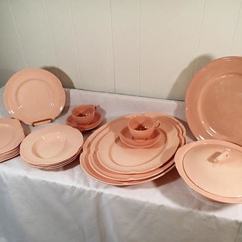Vintage Johnson Brothers Rosedawn pink scalloped edge dinnerware 21 piece set dinner and serving ware 1940 - 1970