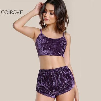 COLROVIE Velvet Sexy 2 Piece Set Women Purple Cami Crop Top With Shorts Set Summer Slim Casual Crushed Co-Ord Two Piece Set