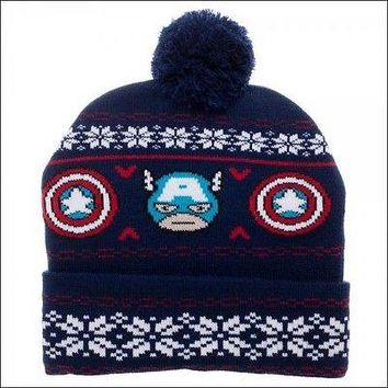 Marvel Captain America Kawaii Fair Isle Roll Slouch Cuff Knit Pom Beanie Cap Hat