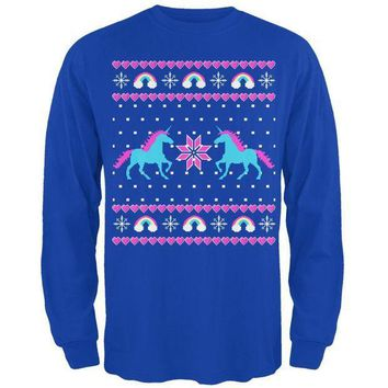 PEAPGQ9 Unicorn Rainbow Ugly Christmas Sweater Mens Long Sleeve T Shirt