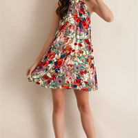 Floral High Neck Swing Dress