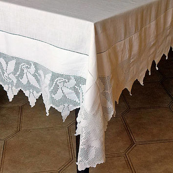 Square tablecloth Crochet lace top table decor Embroidery hemstitch Vintage beautiful toptable Retro whitework Stunning design Shabby chic