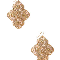 FOREVER 21 Filigree Panel Earrings Gold One