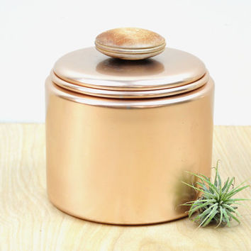 Vintage Pink Aluminum Mirro Kitchen Storage Canister , Copper Aluminum