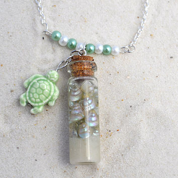 Seashell necklace, ocean necklace, beach lover gift, ocean in a bottle, glass vial jewelry, beach theme wedding, beach jewelry, pagan pendan