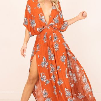 Vacay Ready Maxi Dress in rust floral Produced By SHOWPO
