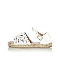 Girls white laser cut espadrilles