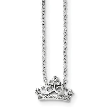 Sterling Silver CZ Crown Pendant Necklace