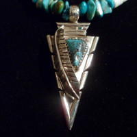 Authentic Navajo Native American Southwestern sterling silver arrowhead and turquoise chip,heishi beaded pendant/necklace.
