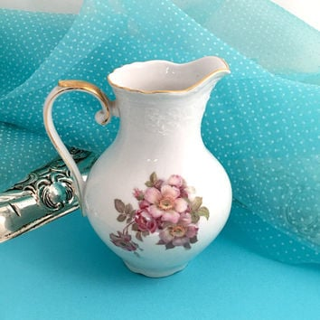 Vintage 1960's Pitcher, Wild Rose Pattern, Pink, Germany, Bavarian China, Porcelain Pitcher, Tea Party, Shabby Chic China