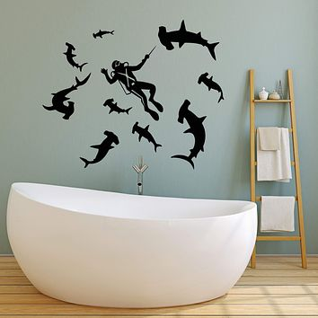 Vinyl Wall Decal Diving Underwater World Diver Sharks Water Stickers (3112ig)