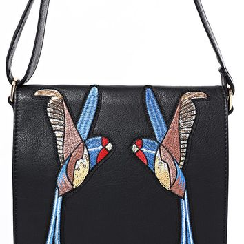 Black Crossbody Bag With Bird Embroidery