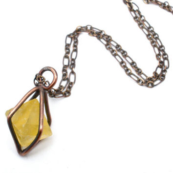 Caged Fluorite Crystal Necklace in Earth Toned Copper- Gemstone Pendulum or Amulet- Sunny Yellow Octahedron Stone