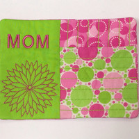 Quilted Mug Rug Coaster for Mom $10.00 #mug rug #Mother #gift #coffee