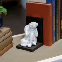 UTC33424-AST: Resin Buddha with Rounded Ushnisha and Head Resting on Knee and Base Bookend Assortment of Two Gloss Finish White | Overstock.com Shopping - The Best Deals on Accent Pieces