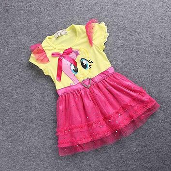 SAMGAMI BABY Little Girls New Fashion Color Gauze Dress Girls Tutu Dress My Pony Kids Cartoon Princess Baby Lace Sequin Dress