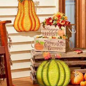 Happy Harvest Porch Accents Metal Pumpkin Or Set Of 2 Crates Thanksgiving Decor