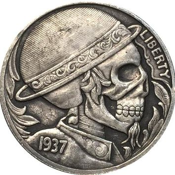 Hobo Nickel 1937-D BUFFALO NICKEL COIN SKULL HAND CARVED CRAFTED