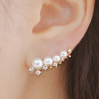 Pearl and Rhinestone String Ear Cuffs - LilyFair Jewelry