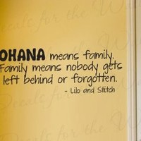 Lilo and Stitch Ohana Family Disney - Girl's or Boy's Room Kids Baby Nursery - Decorative Adhesive Vinyl Wall Decal, Lettering Art Letters Decor, Quote Design Sticker, Saying Decoration