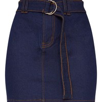 Dark Wash O-Ring Belt Detail Denim Mini Skirt