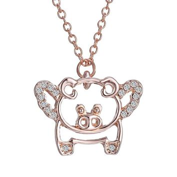 Fashion Lovely rose gold crystal animal pig Necklace & Pendant Animal Pendants For Women For Gift New