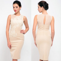 Beige Lace Sleeveless Bodycon Dress