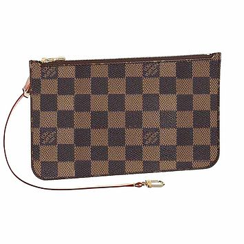 LV Fashion Women Louis Vuitton Coin purse Wrist Bag Cute Wallet Coffee Check B