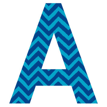 Blue Zigzag Patterned Letter Wall Decal