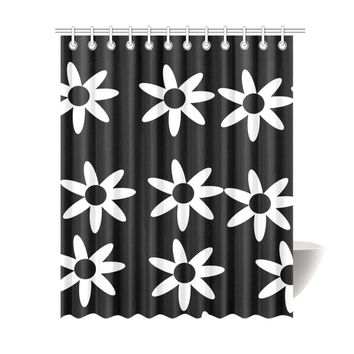 "Floral Black/White Shower Curtin Shower Curtain 69""x84"""