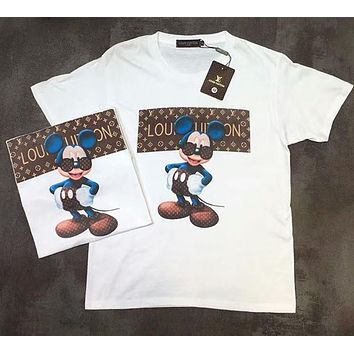 LV Louis Vuitton Trending Women Men Stylish Mickey Mouse Monogram Print Short Sleeve T-Shirt Top I-AA-XDD