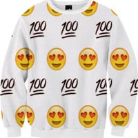 White/Emoji Sweatshirt created by trilogy-anonymous | Print All Over Me