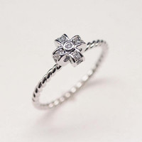 Tiny Cross ring with cubic zirconia stones band