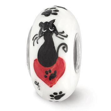 Fenton White Hand Painted Cat Paw Prints Glass & Sterling Silver Charm