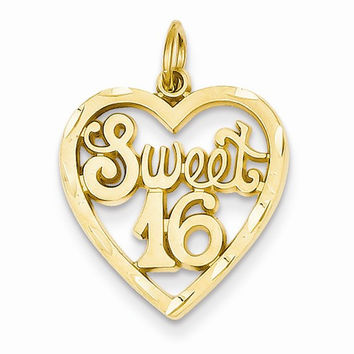 14k Yellow Gold Sweet 16 in A Heart Charm