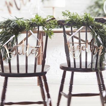 Rose Gold Better Together Wedding Chair Signs, Bride and Groom Chair Signs, Rose Gold Chair Signs, Top Table Decor, Wedding Signs