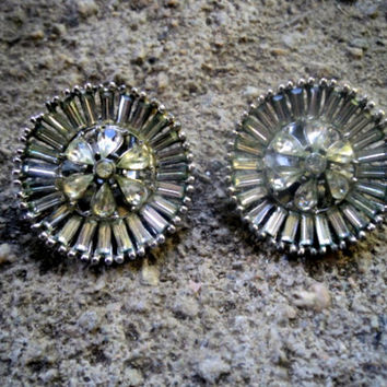 Vintage 1950s Earrings Rhinestone Dramatic Round Open Work Clip-on Floral Wheel design 1 inch round