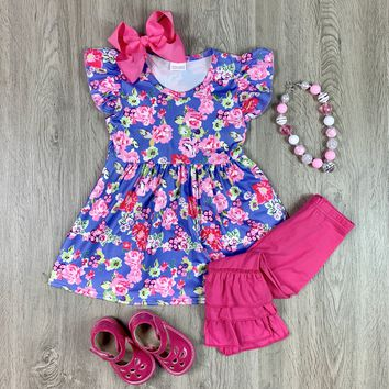 RTS Girls Purple and Pink Floral Set D32