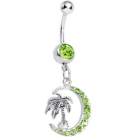 Green Gem Palm Tree and Moon Dangle Belly Ring | Body Candy Body Jewelry