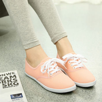 Plus size women casual shoes summer school canvas shoes woman flats tenis feminino lace color Walking Shoes zapatos mujer AT41