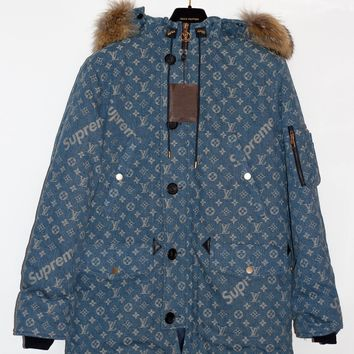 Louis Vuitton x SUPREME BLUE Camo Denim Monogram Logo Fur Parka 52 Large L XL