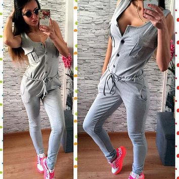 Grey Single Breasted Pockets Drawstring Fashion Long Jumpsuit