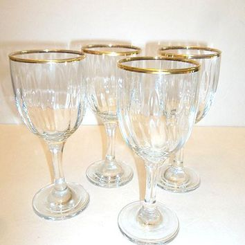 Gold Rimmed, Ribbed Stemware  S/4