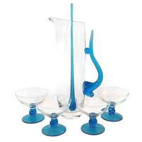 Mid Century Cocktail Set, Blown Glass Pitcher, Coupes, Stirrer, 1960s Turquoise