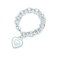 Tiffany & Co. -  Return to Tiffany™ heart tag bracelet in sterling silver with diamonds, medium.