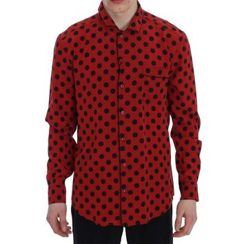 Red Black Polka Silk Sleepwear Shirt