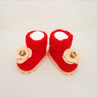 Baby Booties, Cute Baby Booties in Red, Red Baby Booties with Flowers
