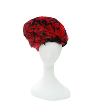 Red Feathered Statement Hat, Black Wool Felt
