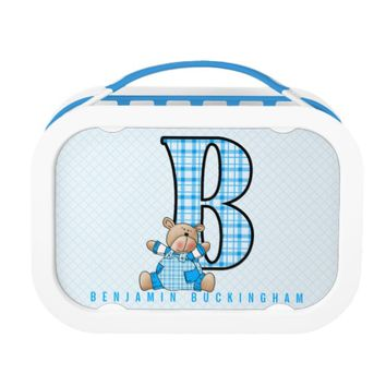 Boy's Blue Plaid Teddy Bear Monogram B School Lunch Box