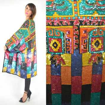 fully beaded TROPHY southwestern sequin NAVAJO ethnic kimono DRAPED coat/jacket, one size fits all